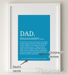 DIY Dad definition personalized poster