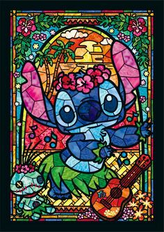 Stitch Disney Stained Glass Cross Stitch Pattern Counted Cross Stitch Chart, Pdf Format, Instant Download /192275 by icrossstitchpattern on Etsy
