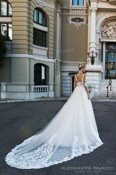 alessandra rinaudo 2017 bridal half sleeves scoop neckline heavily embellished bodice princess romantic a  line wedding dress v back long royal train (benedetta) mv