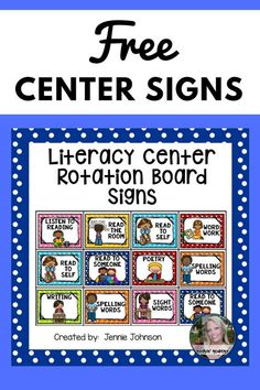 Free Center Signs Are you implementing literacy centers into your literacy block? Use these engaging cards to teach students where to go and what to do during their center time. Preschool Center Signs, Classroom Center Signs, Preschool Centers, Free Preschool, Kindergarten Center Rotation, Kindergarten Literacy Stations, Kindergarten Reading, Kindergarten Routines, Centers First Grade