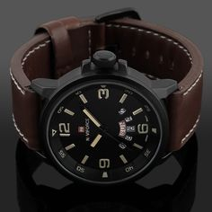 Cheap esportivo, Buy Directly from China Suppliers:Fashion Men Stainless Steel Waterproof Sport Analog Quartz Wrist Watch relojes hombre 2017 relogio masculino esportivo Stylish Watches, Luxury Watches, Cool Watches, Watches For Men, Wrist Watches, Brown Leather Watch, Leather Men, Leather Case, Men's Accessories