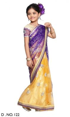 For YOUR Little Princess - Pre-Stitched Ethnic Indian Sarees -  Buy RIMJHIM - Yellow and Purple Net and Shimmer Half and Half Ready made Girls Saree Online - Girls Clothings - 10kya.com Kids Store | Rs. 1499, USD 28 Shipped Globally