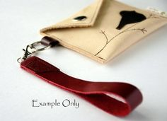 Leather Wristlet Attachment or Keyring Handle Attachment - Rustic - Rustic Blue Bloom over Pale Sky Blue and Kiwi Green