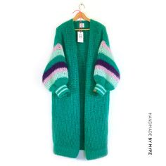 This is a unique handmade long green mohair cardigan. This beautiful cardigan is made of a high quality fine brushed mohair and does not pill. Long Cardigan, Knit Cardigan, Mohair Yarn, Latest Colour, Slow Fashion, Fashion 2020, Knit Jacket, Knit Fashion, Knitwear