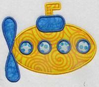 Submarine Applique Embroidery Design   Apex Embroidery Designs, Monogram Fonts & Alphabets