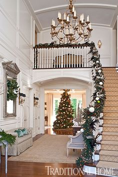 "Christmas in a California Home with a Neutral Palette | Traditional Home Wall paint (""Pointing"" #2003): Farrow & Ball,"