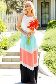 Now available at Sassy Storehouse Coral, Mint & Bla.... Shop this link http://www.sassystorehouse.com/products/copy-of-3-4-sleeve-hanky-bottom-maxi-dress-asymmetrical-hem-preorder?utm_campaign=social_autopilot&utm_source=pin&utm_medium=pin