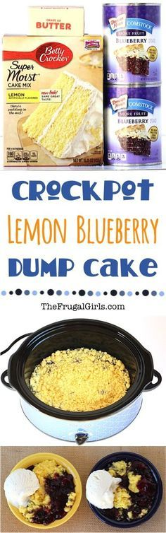 Crockpot Lemon Blueberry Dump Cake Recipe At This Delicious Crock Pot Dessert Is So Easy. Simply Dump It In And Walk Away Slow Cooker Desserts, Crock Pot Desserts, Köstliche Desserts, Cooker Recipes, Dutch Oven Desserts, Crock Pot Food, Crockpot Dishes, Crock Pot Slow Cooker, Crockpot Recipes