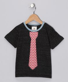 Take a look at this Charcoal & Red Chevron Tie Tee - Toddler & Boys by Million Polkadots on #zulily today!