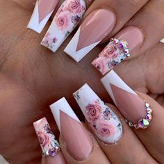 Almond Acrylic Nails, Summer Acrylic Nails, Best Acrylic Nails, Nail Summer, Fancy Nails, Cute Nails, Pretty Nails, Cute Acrylic Nail Designs, Nail Art Designs