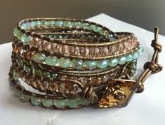 5 Wrap Czech Glass and Leather Bracelet