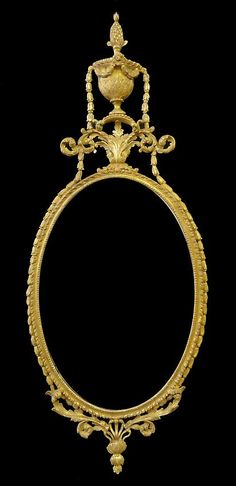 """Description  An oval plate with beaded and gadrooned surround, surmounted by pineapple in urn form and scrolling foliate crest, the sides hung with pendant bellflower swags terminating in scrolling foliate apron with athenaeum decoration. A George III Gilt-Wood Mirror  CIRCA 1770  Height: 62 1/2"""" Width: 26"""""""