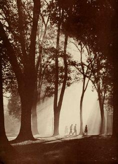 Students at Ohio University take a stroll across College Green (Athena, 1947) via Ohio University Archives