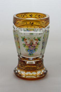 Bohemian Biedermeier hand painted/enamelled cut crystal glass pedestal vase, 19th-20th Cent.