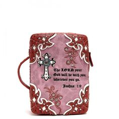 Western Style Bible Cover with Cross & Scripture Quote – Handbag Addict.com