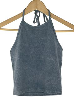 acid wash chicken scratch halter neck line grey color 92% cotton and 2% spandex