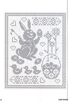 ru / Фото - Point de croix Collector N Filet Crochet, Crochet Chart, Crochet Motif, Crochet Doilies, Holiday Crochet, Easter Crochet, Crochet Home, Crochet Stitches Patterns, Cross Stitch Patterns