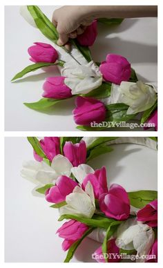 3-Tulip Door Wreath Tutorial-Cut your tulip stems from the bundle using wire snips, and begin adding one color at a time into every other ribbon overlap. Start on the outside & then  move to the inside of the wreath. You will end up with one tulip per overlap. NEXT you add white tulips in middle in every other ribbon overlap.