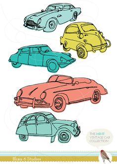 Digital Clip Art Vintage Cars in Mint & Coral  by Blixa6Studios, €6.95