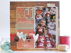 Kerri Bradford title in action + Ribbon scrap hearts = LOVE this layout by Nichol Magouirk!