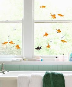 Oh  my goodness, I want these for the window above our master bathtub. The girls would think it is hysterical.