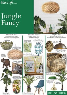 Bold colours and leafy prints are must-haves for We have created 3 interior looks inspired by jungle trend to add a tropical breeze to your home. Colored Weave, Leaf Bowls, Paradise Found, Printed Cushions, Touch Of Gold, Diy Interior, Gold Glass, Tropical Plants, Botanical Prints
