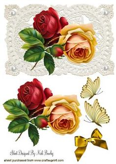 ROSES WITH BUTTERFLIES ON VINTAGE LACE on Craftsuprint - Add To Basket!