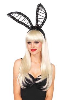 Oversized wet look lace up bendable bunny ears