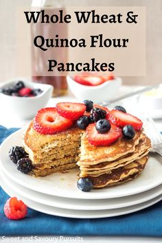 Top these Whole Wheat Quinoa Flour Pancakes with berries and pure maple syrup for a delicious and nutritious breakfast. Best Brunch Recipes, Good Healthy Recipes, Real Food Recipes, Breakfast Recipes, Favorite Recipes, Pancake Recipes, Summer Recipes, Breakfast Ideas, Delicious Recipes
