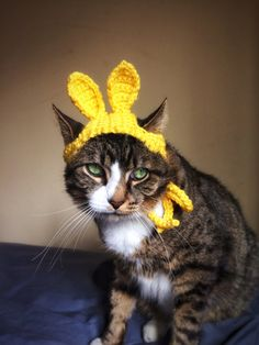 Easter Bunny Hat for Cat Crochet Yellow Costume Hat for Cat Unique Handmade Pet Accessories