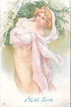 woman with golden hair, pink/white dress, in front of evergreen branches, faces front, looks left/up