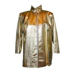 Yves Saint Laurent  Rive Gauche gilded gold coat | From a collection of rare vintage jackets at http://www.1stdibs.com/fashion/clothing/jackets/