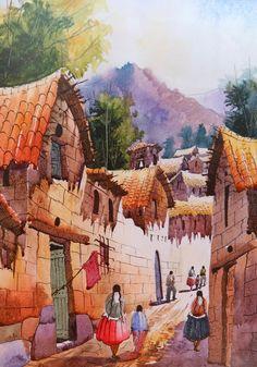 Cuadros Modernos Pinturas : Paisajes Campesinos del Perú al Óleo
