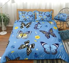 Blue Butterfly Flying Bedding Set Butterfly Bedding Set, Butterfly Quilt, Blue Butterfly, Blue Bedding Sets, Butterflies Flying, Quilt Cover, Clean Design, Duvet Cover Sets, Pillow Cases