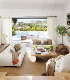 When palm trees and the sea are visible from the windows of the house, the interior can be almost anything. But this villa in Spanish Marbella is ✌Pufikhomes - source of home inspiration Home Living Room, Interior Design Living Room, Living Room Designs, Living Room Decor, Warm Home Decor, Apartment Design, Home Design, Oasis, Décor Ideas