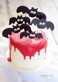 Vampire Bat Cake... #halloween #cake #redvelvet #recipe