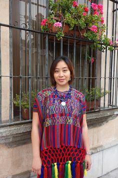 Maya Woman's Vintage Geometric Multi Color Nebaj Huipil Textile Boho Poncho with Fringe from Guatemala