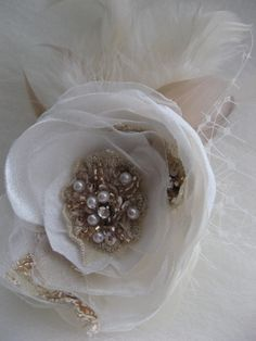 Ivory blush bridal flower lace Hair clip with tulle by LeFlowers, $36.00