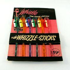 Vintage Swizzle Sticks, Six Whizzle Sticks Retro Cocktail Stir Sticks, Kitschy Barware, Whistle Rainbow Glitter Drink Stirrers