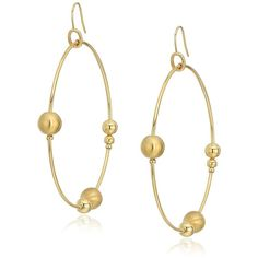 """Diane von Furstenberg """"Moon Unit"""" Ball Large Wire Gypsy Hoop Earring ($76) ❤ liked on Polyvore featuring jewelry, earrings, wire hoop earrings, gypsy hoop earrings, gypsy jewelry, hoop earrings and wire earrings"""