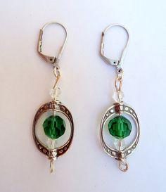 Sterling earringsdangling earringsbead frame by JoolsbyAveril