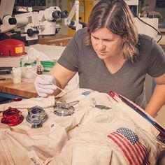 Cool job? I'd say so. Today's #Science #WCW is Lisa Young, a Conservationist with the Smithsonian Air and Space Museum. Here she is, working to preserve Neil Armstrong's Apollo 11 spacesuit in the Emil Buehler Conservation Laboratory.  Lisa's developed a new procedure to slow down the deterioration of the museum's spacesuits which contain several different materials. Thanks to Lisa, the delicate job of protecting our past is in good hands!