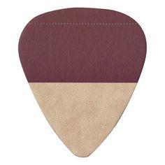 Elegant Burgundy and Tan Faux Leather Guitar Pick - burgundy style stylish cyo diy customize
