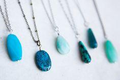 Monday morning got you feeling blue? We've got the cure: blue boho necklaces!   #monday #blues #blue #createyourown #boho #necklace #jewelry #bohojewelry #bohemian #retailtherapy #mondayfunday #leoandlovey #etsy #etsyshop #etsyseller