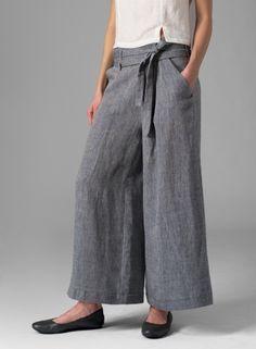 Linen Wide-Leg Extra Long Pants Two Tone Dark Hazel Gray