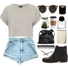 burnout crop, arm boots cool shades and high waisted shorts