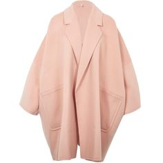 Helmut Lang Light Pink Oversized Wool Coat (38670 TWD) ❤ liked on Polyvore featuring outerwear, coats, red coat, helmut lang, wool coat, light pink coat and pink oversized coat