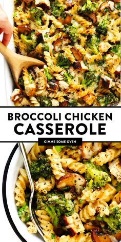 This healthier Broccoli Chicken Casserole recipe is made with tender chicken and broccoli, your choice of pasta, and the BEST creamy cheddar mushroom sauce.