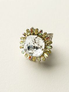 Circular Botanical Crystal Cocktail Ring in Lemon Zest by Sorrelli