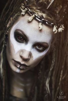 Ghuleh. With Machinefairy. By Laguz Photography. #2017 #altfashion #bones #brown #brown eyes #chain #cosplay #costume #dreads #endzeit #fantasy #fashion #female #Ghuleh #gothgirl #inspiration #lenses #look #machinefairy #make up #model #natural light #pagan #piercings #portrait #post apocalypse #post apocalyptic #sclera #shaman #skull #story #style #wasteland warriors